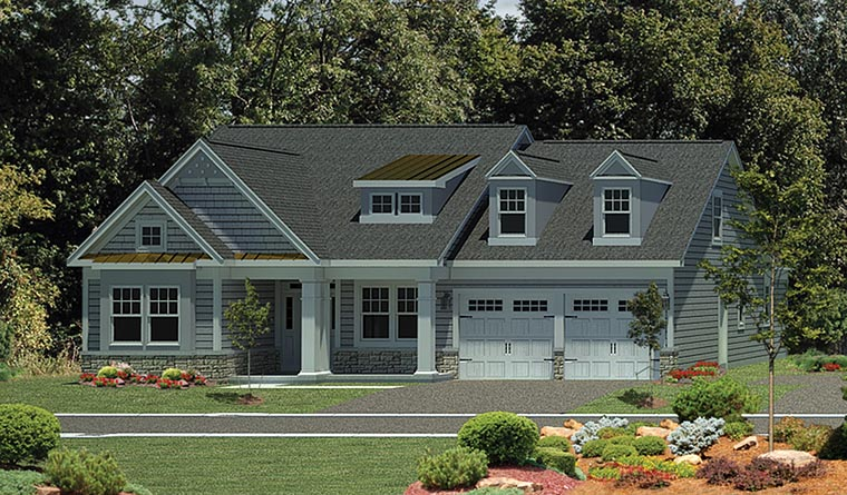 Cape Cod, Colonial House Plan 80302 with 3 Beds, 2 Baths, 2 Car Garage Elevation