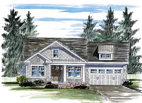 House Plan 80307 | Cottage Country Craftsman Style Plan with 1598 Sq Ft, 2 Bedrooms, 2 Bathrooms, 2 Car Garage Elevation