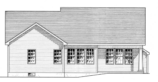 Cottage , Country , Craftsman House Plan 80307 with 2 Beds, 2 Baths, 2 Car Garage Rear Elevation