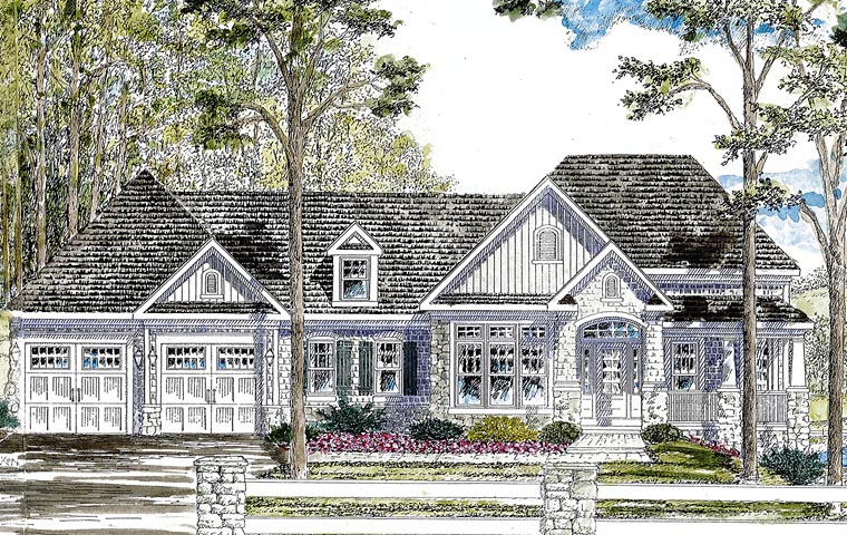 Country Ranch Traditional House Plan 80308 Elevation