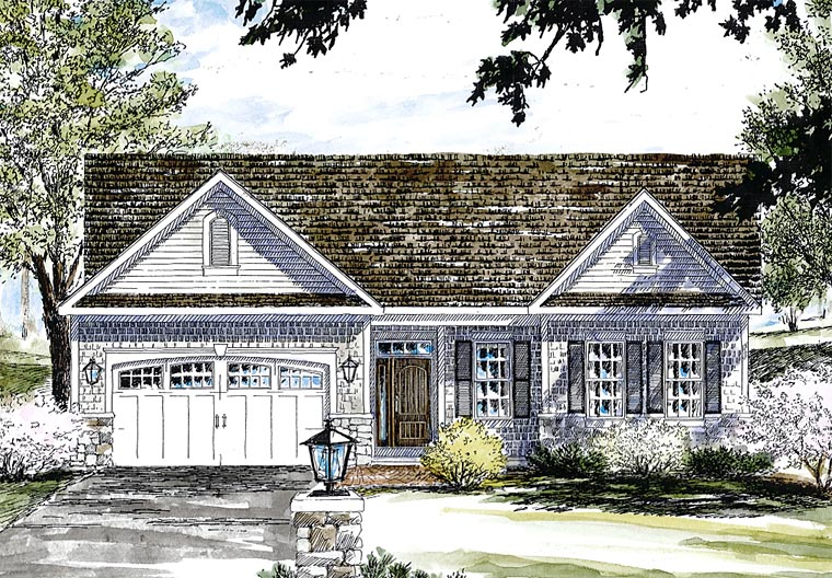 House Plan 80309 | Country Traditional Style Plan with 1771 Sq Ft, 2 Bedrooms, 2 Bathrooms, 2 Car Garage Elevation