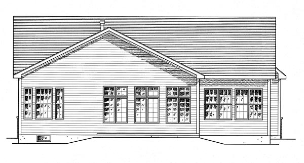 House Plan 80309 | Country Traditional Style Plan with 1771 Sq Ft, 2 Bedrooms, 2 Bathrooms, 2 Car Garage Rear Elevation
