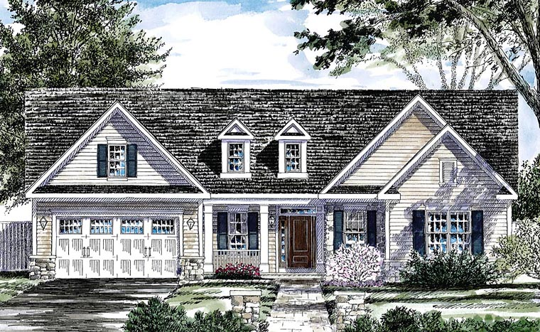 Country, Traditional House Plan 80310 with 3 Beds, 3 Baths, 2 Car Garage Elevation