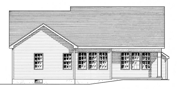 House Plan 80312   Cottage Country Ranch Style Plan with 1598 Sq Ft, 3 Bedrooms, 2 Bathrooms, 2 Car Garage Rear Elevation