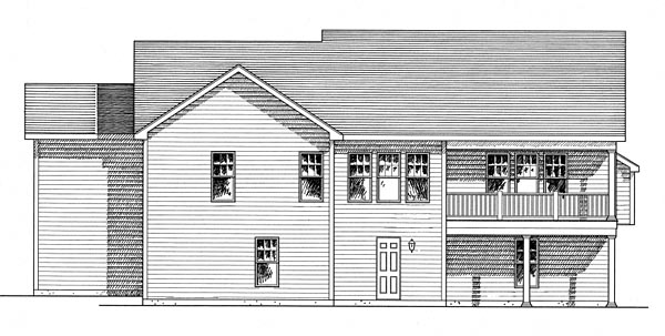 House Plan 80313   Cottage Craftsman Ranch Style Plan with 1704 Sq Ft, 3 Bedrooms, 2 Bathrooms, 3 Car Garage Rear Elevation
