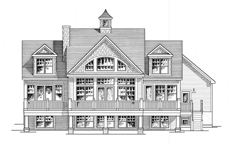 House Plan 80314 | Cape Cod Cottage Craftsman Style Plan with 2410 Sq Ft, 3 Bedrooms, 3 Bathrooms Rear Elevation