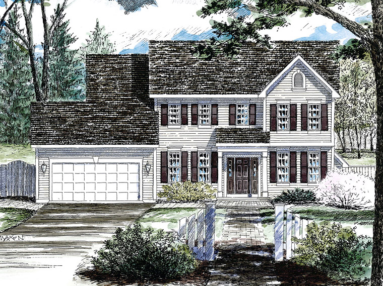 Colonial, Southern House Plan 80315 with 4 Beds, 3 Baths, 2 Car Garage Elevation