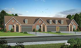Multi-Family Plan 80400 | Traditional Style Multi-Family Plan with 5226 Sq Ft, 6 Bed, 6 Bath, 6 Car Garage Elevation