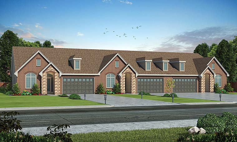 Traditional Multi-Family Plan 80400 Elevation