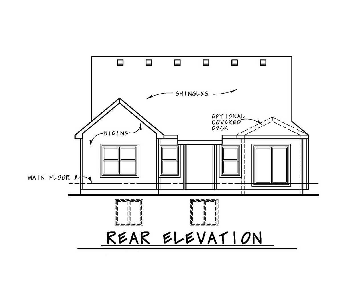 Cottage Country Craftsman House Plan 80404 Rear Elevation