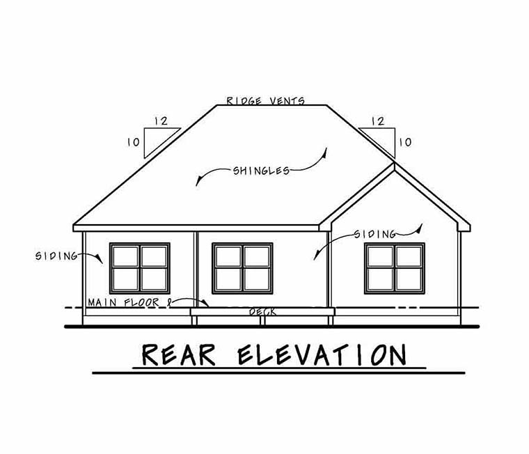 Cottage Country Craftsman Ranch Traditional House Plan 80406 Rear Elevation