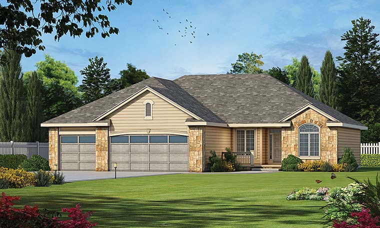 Ranch Traditional House Plan 80409 Elevation