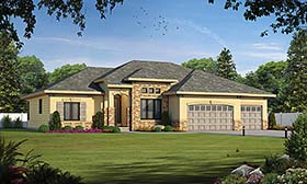 House Plan 80413 | European Tuscan Style Plan with 2292 Sq Ft, 1 Bedrooms, 2 Bathrooms, 3 Car Garage Elevation