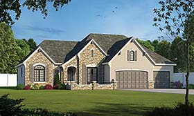 French Country , Traditional House Plan 80414 with 2 Beds, 2 Baths, 3 Car Garage Elevation