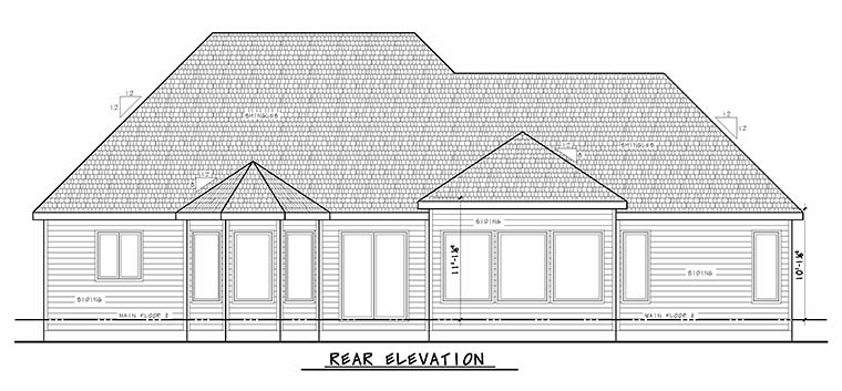 French Country Traditional House Plan 80414 Rear Elevation