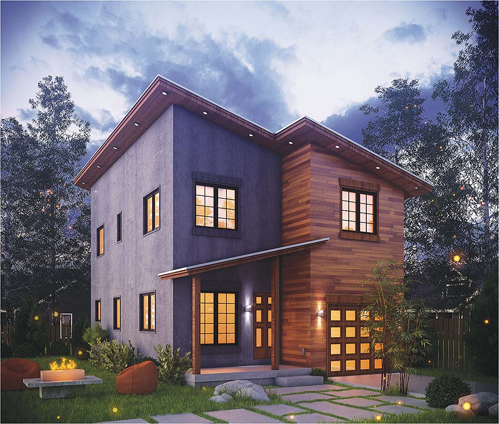 House Plan 80415 | Contemporary Modern Style Plan with 1406 Sq Ft, 3 Bedrooms, 3 Bathrooms, 1 Car Garage Elevation