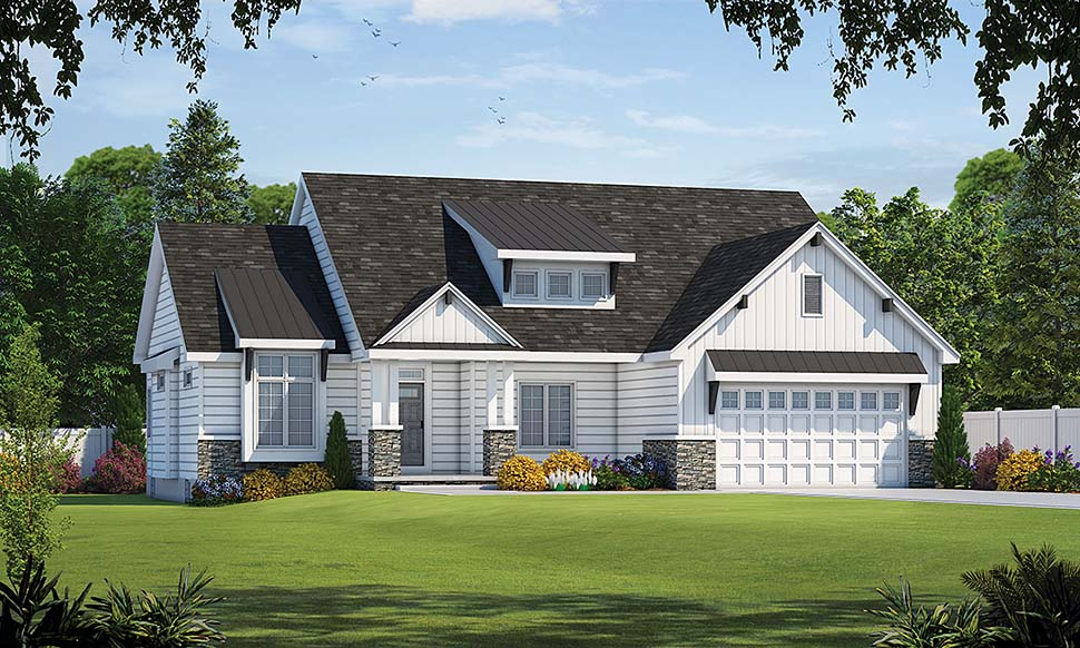 Country, Farmhouse, Ranch House Plan 80423 with 3 Beds, 3 Baths, 2 Car Garage Elevation