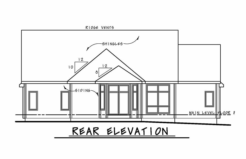 Country, Farmhouse, Ranch House Plan 80423 with 3 Beds, 3 Baths, 2 Car Garage Rear Elevation
