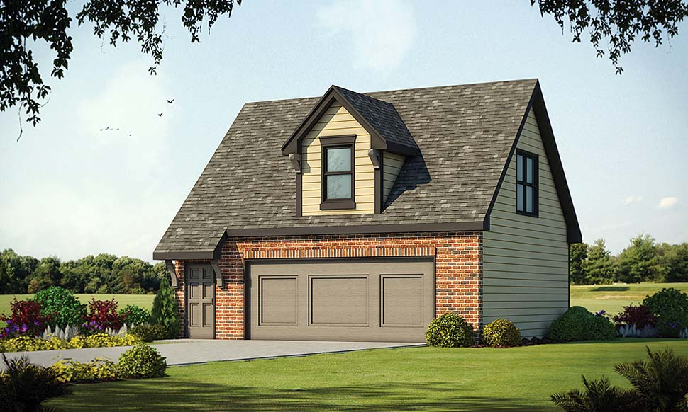 Garage Plan 80425 | Traditional Style Plan with 348 Sq Ft, 2 Car Garage Elevation