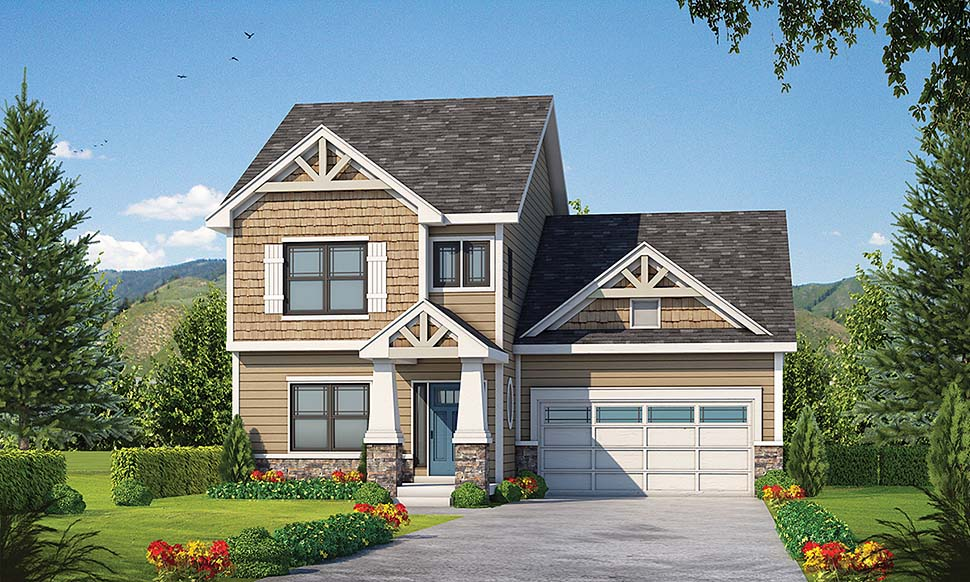 Country , Craftsman House Plan 80430 with 4 Beds, 4 Baths, 2 Car Garage Elevation