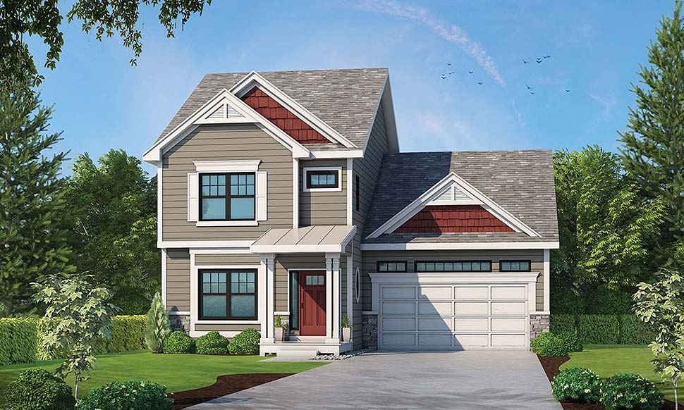 Country Craftsman Traditional House Plan 80431 Elevation