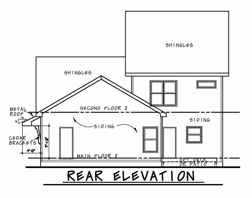 Country Craftsman Traditional House Plan 80431 Rear Elevation
