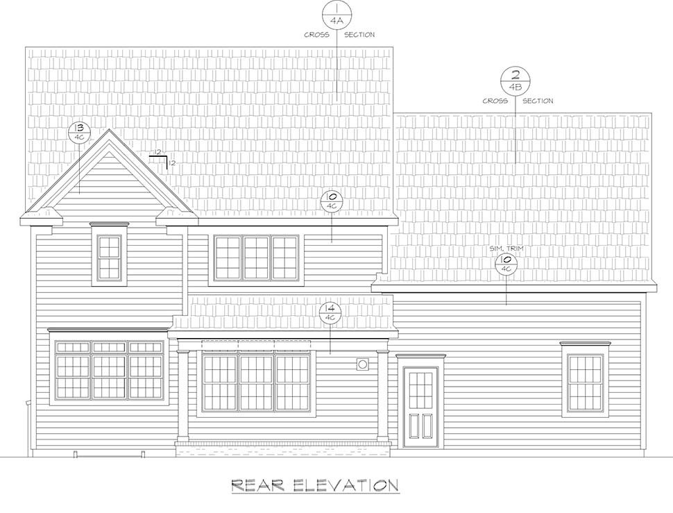 Farmhouse, Traditional House Plan 80433 with 4 Beds, 3 Baths, 2 Car Garage Rear Elevation