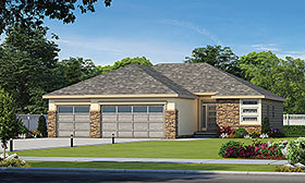 House Plan 80436 | Modern Traditional Style Plan with 1676 Sq Ft, 3 Bedrooms, 2 Bathrooms, 3 Car Garage Elevation