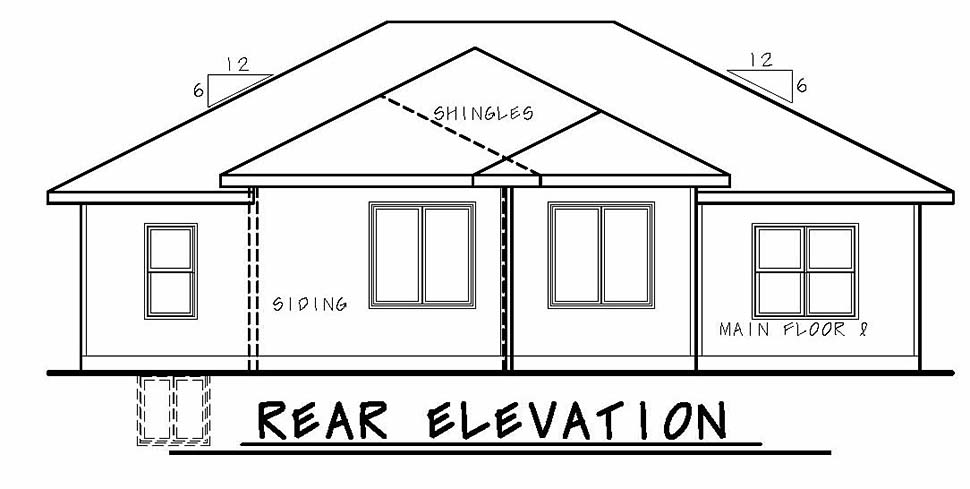 Modern Traditional Rear Elevation of Plan 80436