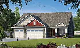 Bungalow , Craftsman House Plan 80437 with 3 Beds, 2 Baths, 3 Car Garage Elevation