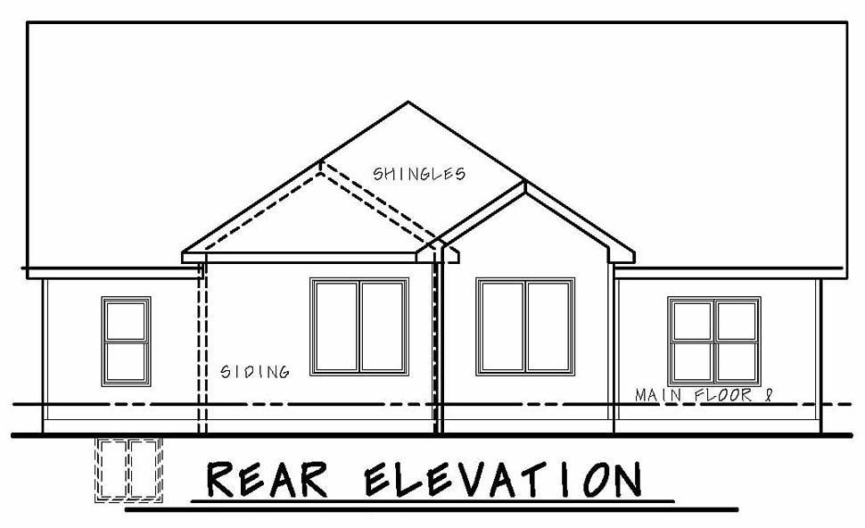 Bungalow , Craftsman House Plan 80437 with 3 Beds, 2 Baths, 3 Car Garage Rear Elevation