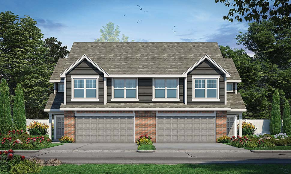 Traditional Multi-Family Plan 80445 with 6 Beds, 6 Baths, 4 Car Garage Elevation