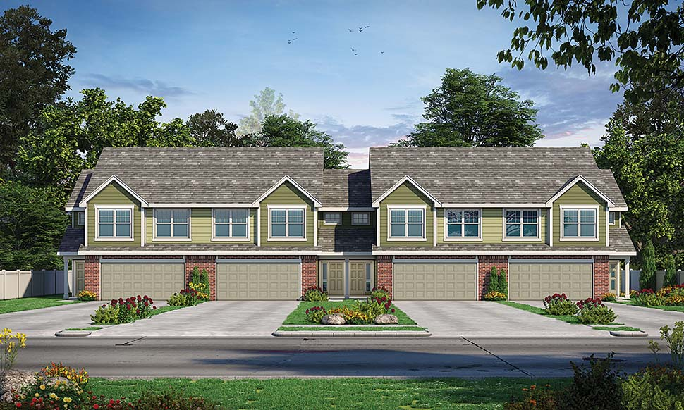 Traditional Multi-Family Plan 80446 with 12 Beds, 12 Baths, 8 Car Garage Elevation