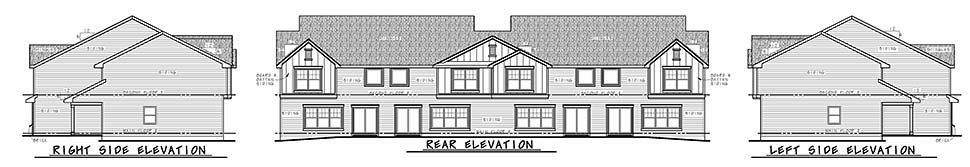 Traditional Multi-Family Plan 80446 with 12 Beds, 12 Baths, 8 Car Garage Rear Elevation