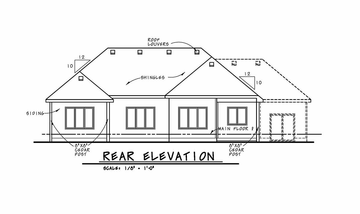 Cottage Country Ranch House Plan 80450 Rear Elevation