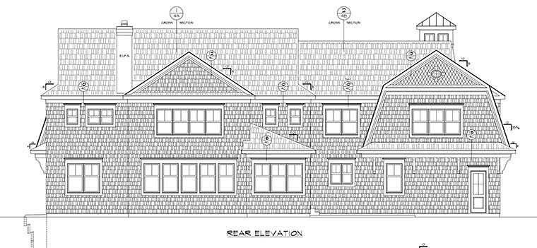 Cape Cod , Country House Plan 80452 with 5 Beds, 6 Baths, 3 Car Garage Rear Elevation