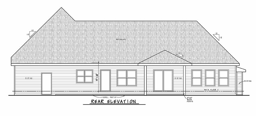 Traditional Rear Elevation of Plan 80456