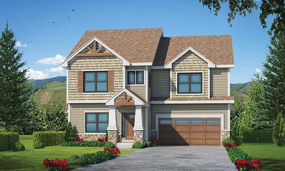 Craftsman House Plan 80458 with 4 Beds, 4 Baths, 2 Car Garage Elevation
