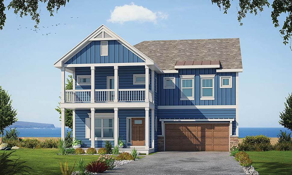Coastal House Plan 80459 with 4 Beds, 4 Baths, 2 Car Garage Elevation