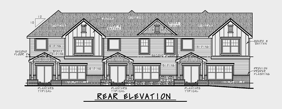 Craftsman Traditional Rear Elevation of Plan 80460
