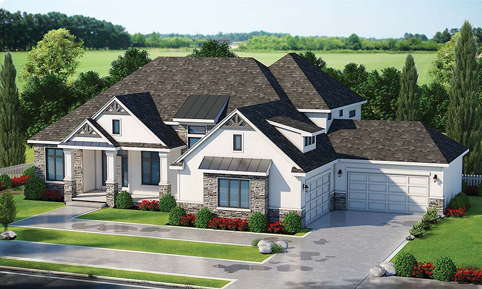 Craftsman , Farmhouse , Modern House Plan 80462 with 5 Beds, 6 Baths, 4 Car Garage Elevation