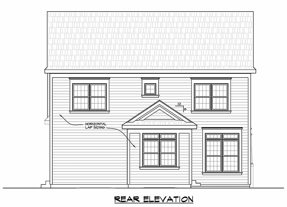 Traditional Rear Elevation of Plan 80465