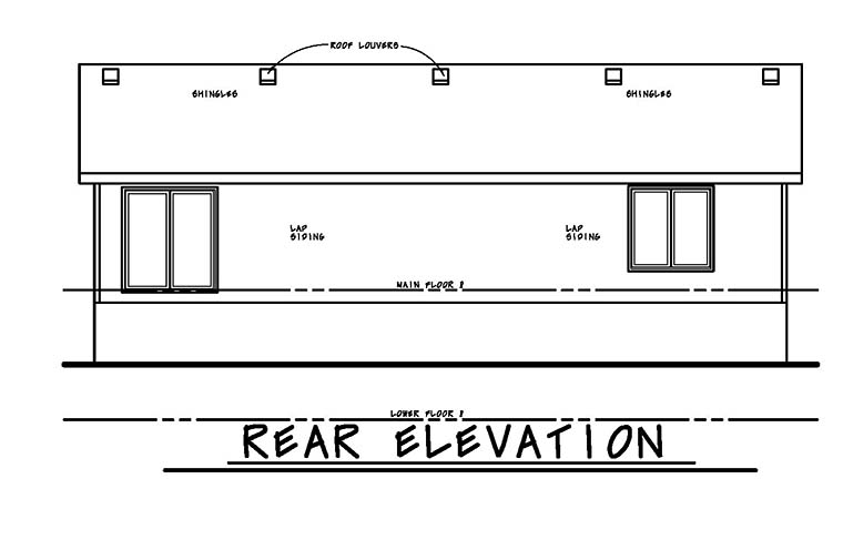Traditional , Rear Elevation of Plan 80466
