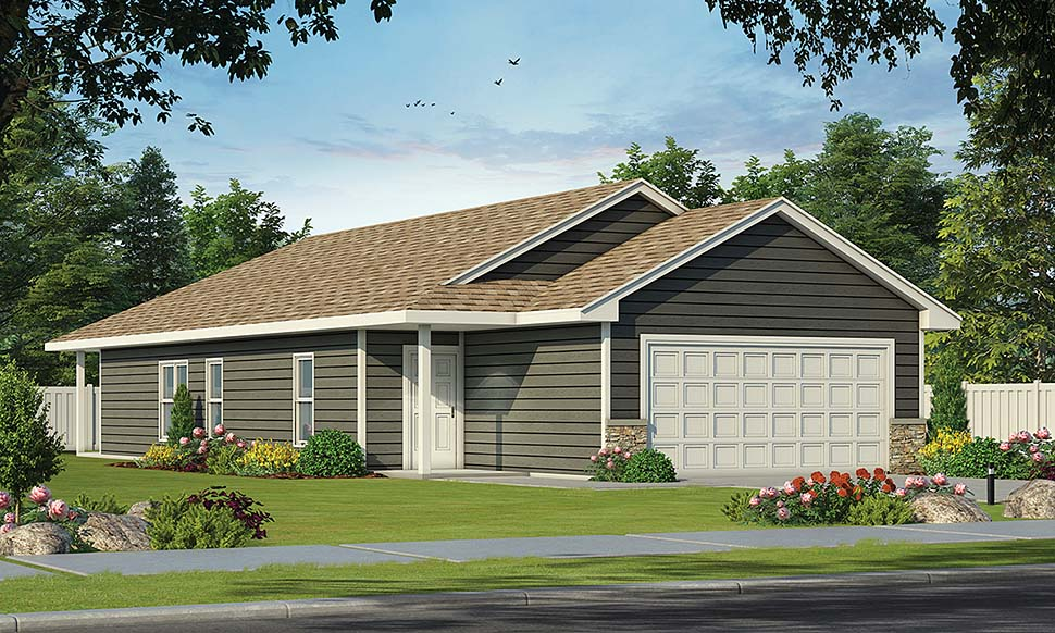 Traditional House Plan 80467 with 2 Beds , 2 Baths , 2 Car Garage Elevation