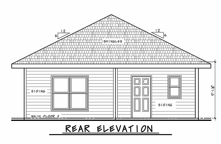 Traditional House Plan 80467 with 2 Beds , 2 Baths , 2 Car Garage Rear Elevation