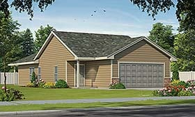 House Plan 80468 | Traditional Style Plan with 1327 Sq Ft, 2 Bedrooms, 2 Bathrooms, 2 Car Garage Elevation