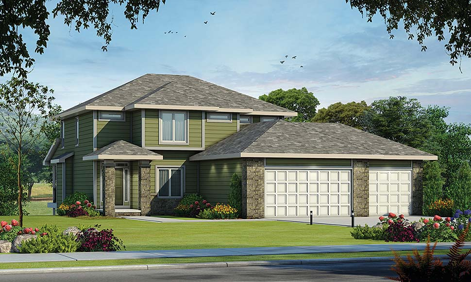 Traditional House Plan 80469 with 5 Beds, 4 Baths, 3 Car Garage Elevation