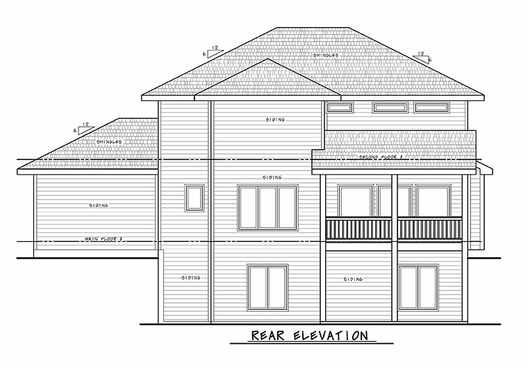 Traditional House Plan 80469 with 5 Beds, 4 Baths, 3 Car Garage Rear Elevation