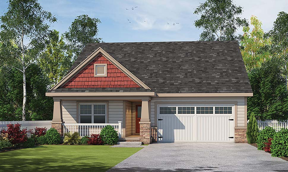 Craftsman House Plan 80470 with 3 Beds , 2 Baths , 2 Car Garage Elevation