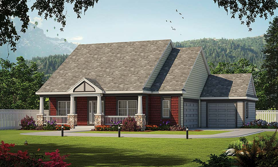 Traditional House Plan 80472 with 3 Beds, 2 Baths, 3 Car Garage Elevation